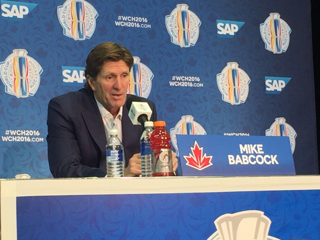 Team Canada coach Mike Babcock today: 'They know what's going on. They're big boys.' (Mike Harrington/Buffalo News).