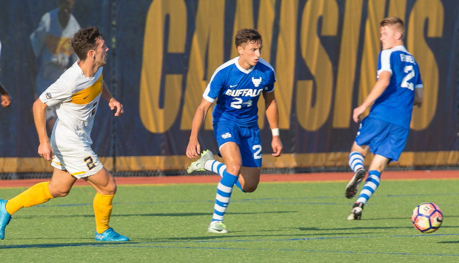 UB's Braden Scales, middle, already has a career-high in goals. (Don Nieman/Special to The News)
