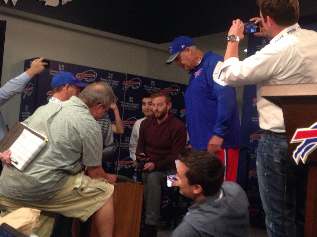 Rex Ryan plays reporter. (Jay Skurski/Buffalo News)
