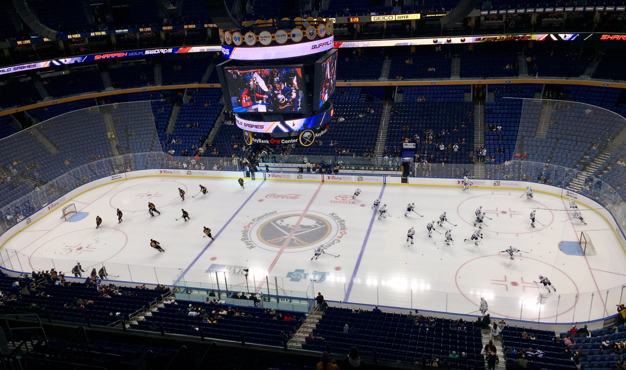 The Sabres and Maple Leafs were tied during the pregame skate. Toronto quickly took control.