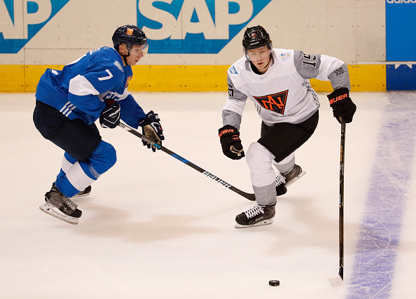 Jack Eichel scored the opening goal for Team North America against Finland on Sunday but lost most of his ice time against Russia (Getty Images).