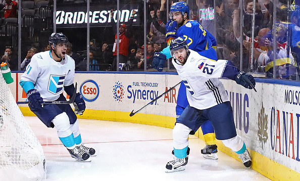 Tomas Tatar (21) celebrates his overtime goal Sunday to beat Sweden with Team Europe captain Anze Kopitar (Getty Images).