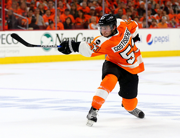 Philadelphia's Shayne Gostisbehere finished second in the Calder Trophy balloting last season (Getty Images).