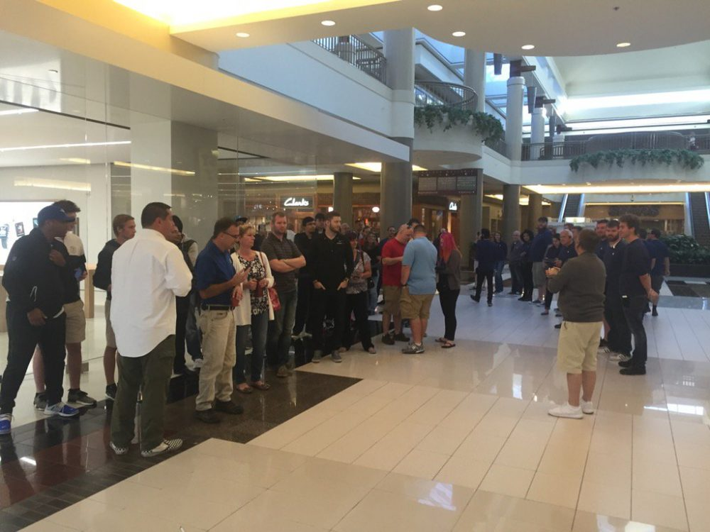 A crowd formed this morning at the Apple Store in the Walden Galleria as the iPhone 7 was released. (John Hickey/Buffalo News)