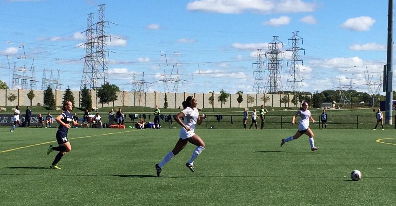 Niagara center back Breanne Guevara chases after a pass toward her own goal. (Ben Tsujimoto/Buffalo News)