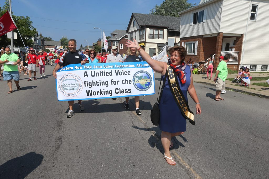 Parade marshal Debbie Hayes, CWA Upstate Area Director, marches in the Buffalo AFL-CIO council's annual labor day parade last year. (John Hickey/Buffalo News photo)