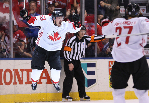 Team Canada's Brad Marchand celebrates his short-handed goal with 43 seconds left that won the World Cup (Getty Images).