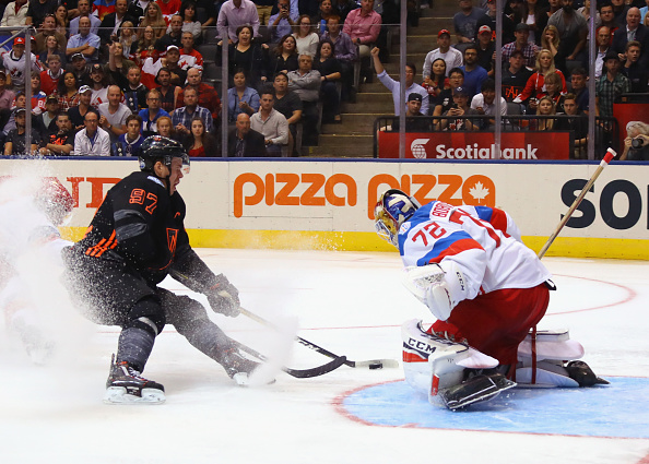 Connor McDavid is stopped on his second-period breakaway by Team Russia goalie Sergei Bobrovsky (Getty Images).