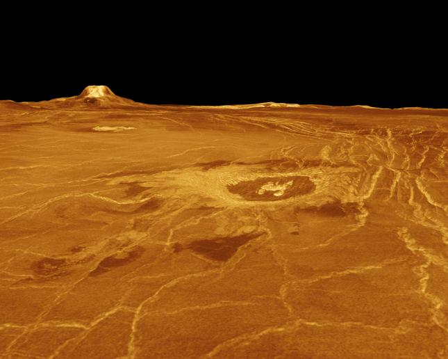 A portion of western Eistla Regio is displayed in this three-dimensional perspective view of the surface of Venus. (NASA/JPL)