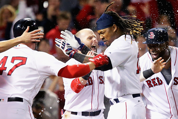 Hanley Ramirez & Friends celebrate his walkoff home run Thursday against the Yankees (Getty Images).
