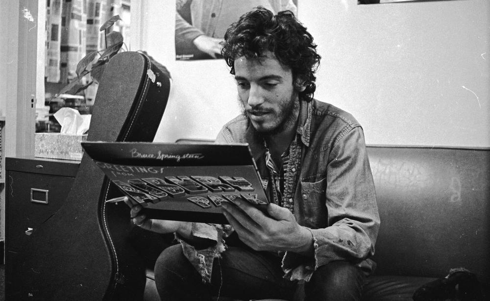 "Bruce Springsteen ""checking out my record for the first time"" from his memoir, Born to Run. Picture: Art Maillet"