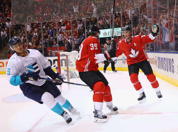 Jonathan Toews (right) and teammate Logan Couture celebrate Toews' goal in front of Team Europe's Luca Sbisa (Getty Images).