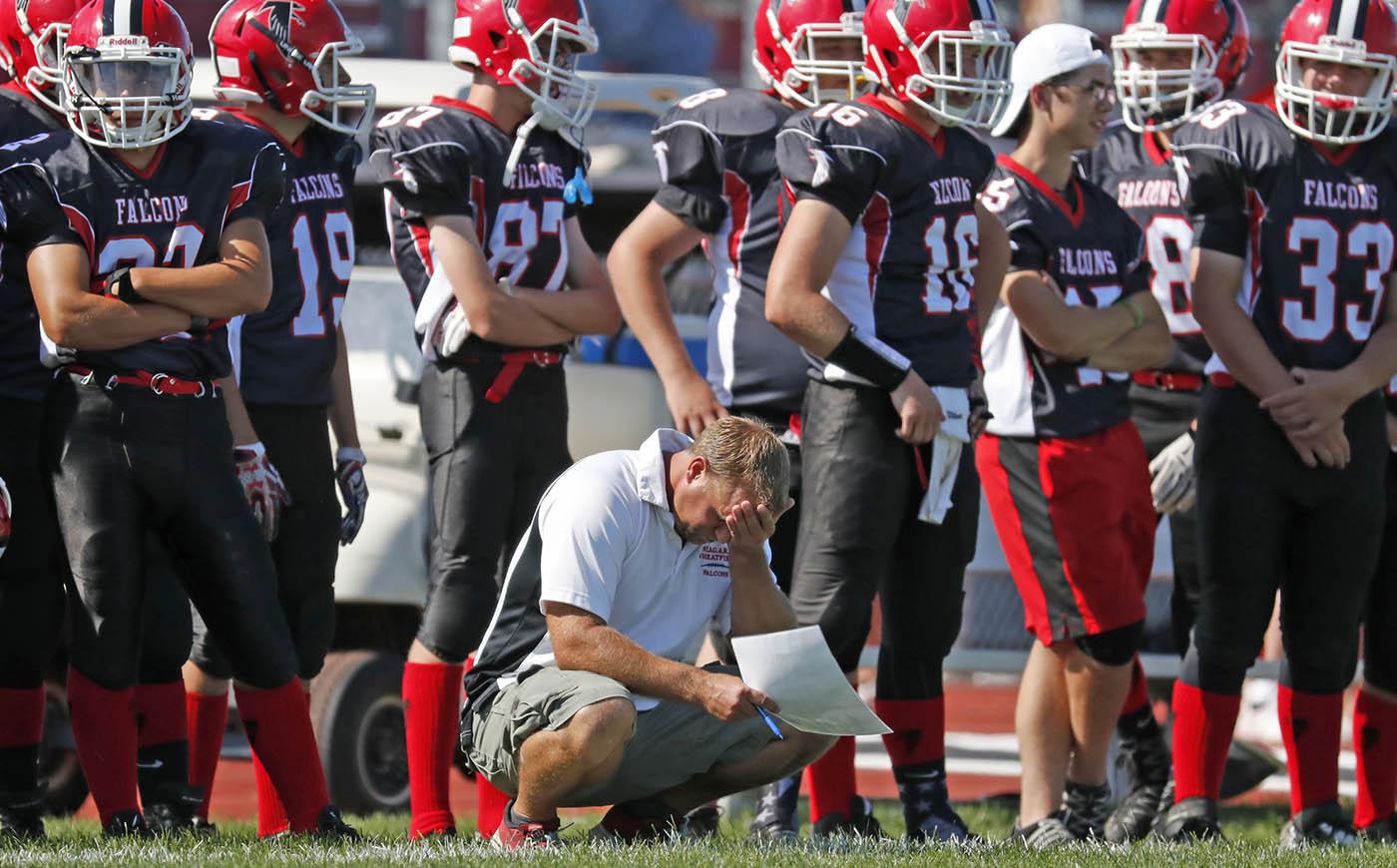 Niagara Wheatfield coach Brent Tylec during second half action against Grand Island at Niagara Wheatfield high school on Saturday, Sept. 3, 2016. (Harry Scull Jr./Buffalo News)