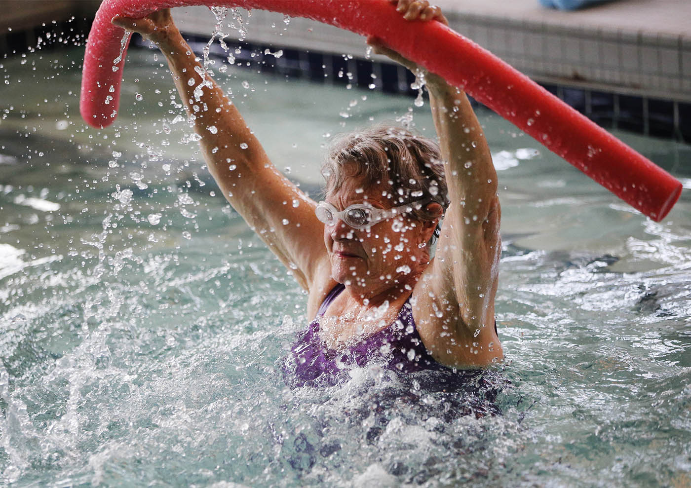 Pictures, June Walter participates in the 11:15am Aqua Aerobics class at the Town of Hamburg Therapeutic Pool on the Iris Apartments campus, Friday, Sept. 9, 2016. (Derek Gee/Buffalo News)