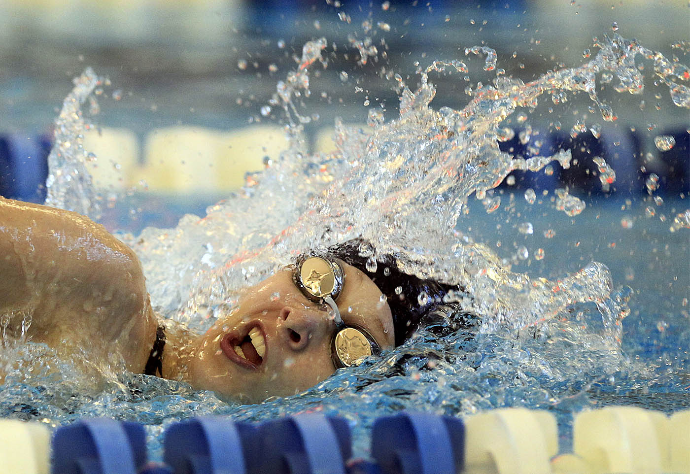 Amherst's Carolyn DeBoth wins the 100 yard freestyle with a time of 1:00.37 during a meet against the Buffalo Public Schools at City Honors high school on Tuesday, Sept. 6, 2016. (Harry Scull Jr./Buffalo News)