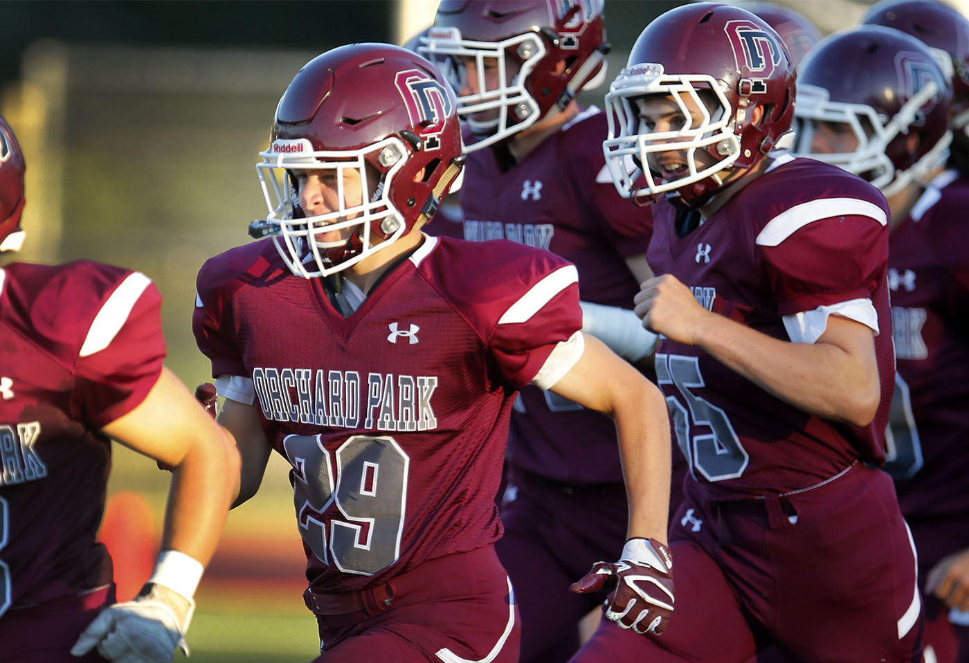 Orchard Park's Jacob Kohler (29) takes the field with his teammates for the game against Pittsford-Mendon in Orchard Park Friday, September 2, 2016. (Mark Mulville/Buffalo News)