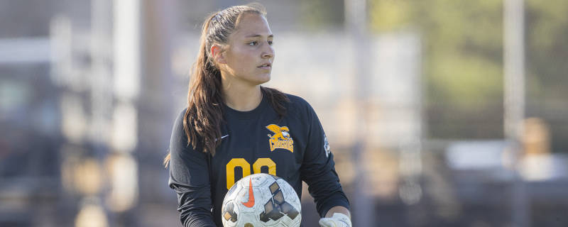 Freshman goalkeeper Alana Rossi has been thrown into the fire as the starter. (via Canisius Athletics)