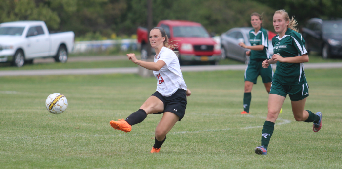 Lancaster graduate Abbey Lombard has 13 goals and six assists in just seven games. (via ECC Athletics)