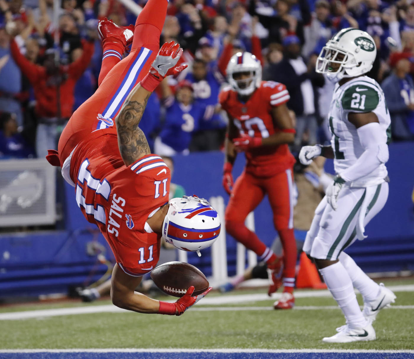 Pictures, Buffalo Bills wide receiver Greg Salas (11) scores a 71-yard touchdown reception agains the New York Jets during the third quarter at New Era Field on Thursday, Sept. 15, 2016. (Harry Scull Jr./Buffalo News)