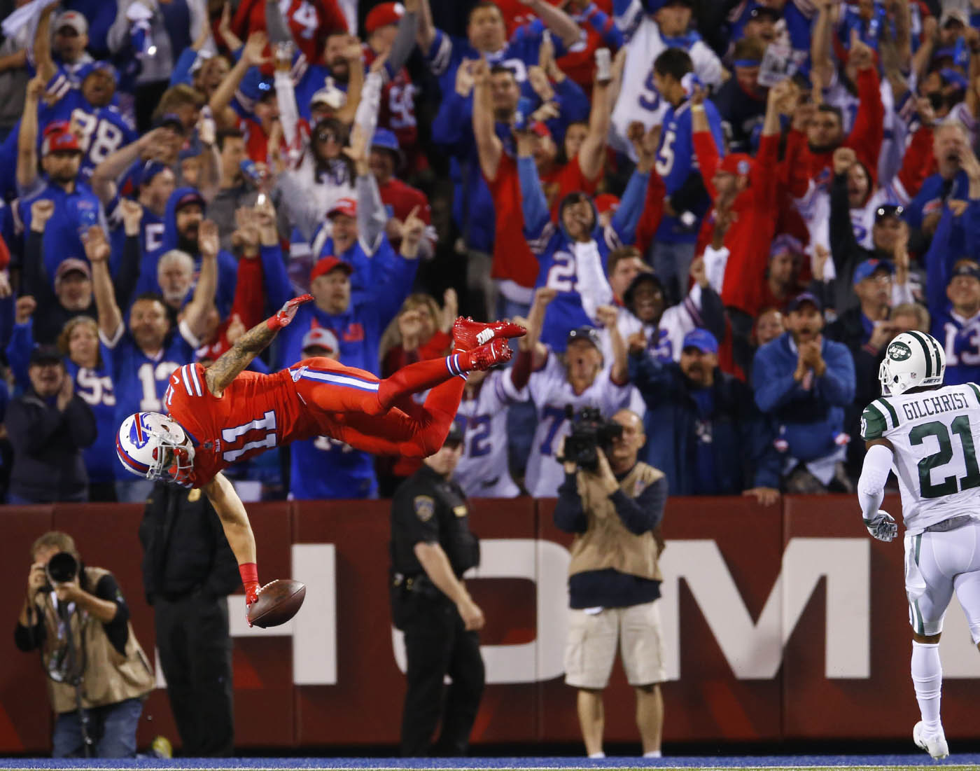 Pictures, Buffalo Bills wide receiver Greg Salas flips into the end zone for a 71-yard touchdown reception against the New York Jets during the third quarter at New Era Field in Orchard Park, N.Y. on Thursday, Sept. 15, 2016. (Mark Mulville/Buffalo News)
