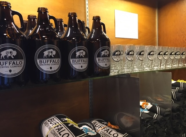 Some of Buffalo Brewing Co.'s merchandise. (Scott Scanlon/Buffalo News)