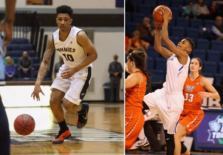 Jay Adams of St. Bonaventure (left), and Joanna Smith of the University at Buffalo are the Big 4 Preseason Players of the Year. (News file photos)