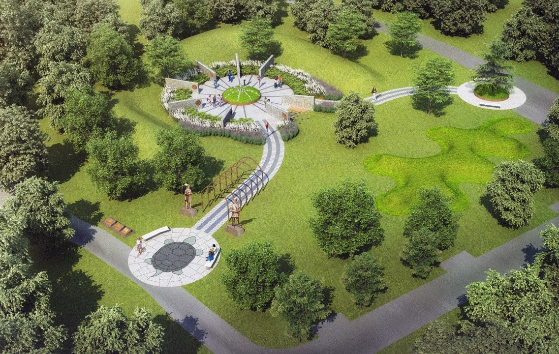 The landscape of nations: Schematic of new memorial at Niagara-on-the-Lake to native military role in the War of 1812, creation of modern Canada. (Image courtesy of Tim Johnson)