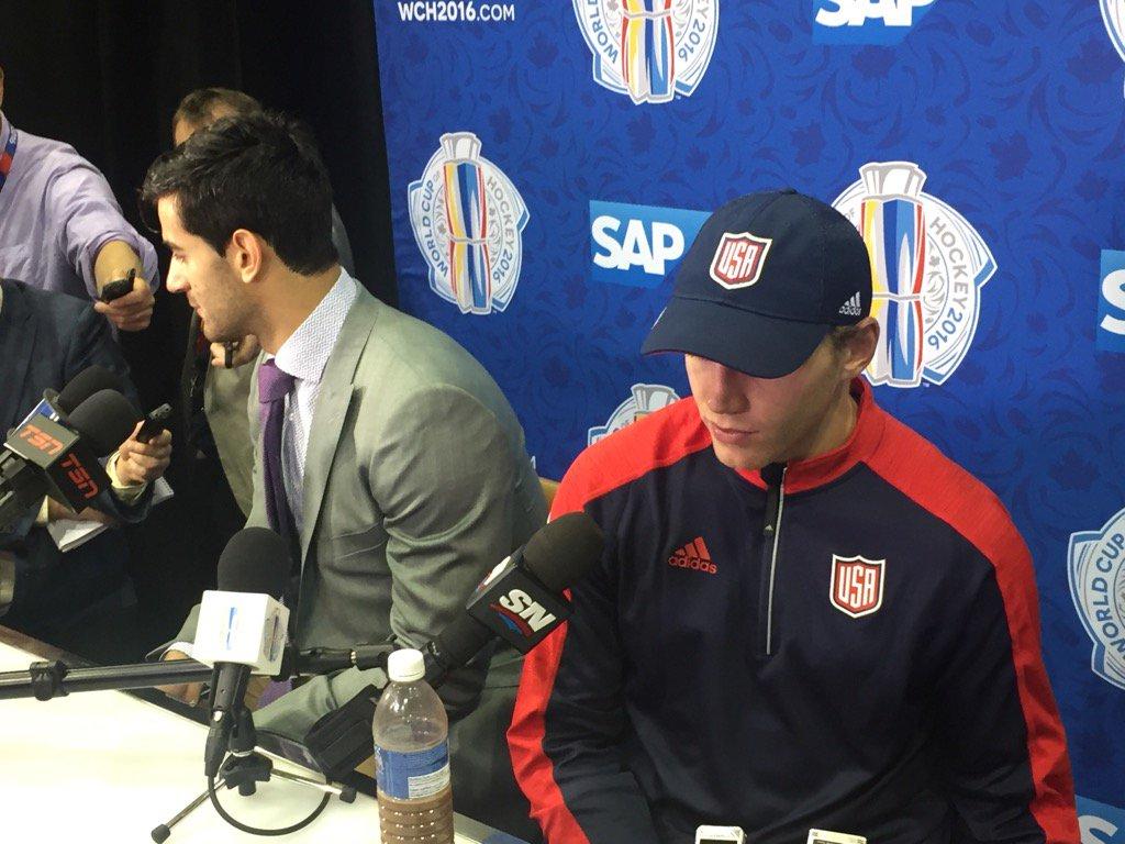 A somber Patrick Kane (right) and Max Pacioretty dissect Team USA's loss Tuesday night (Mike Harrington/Buffalo News).