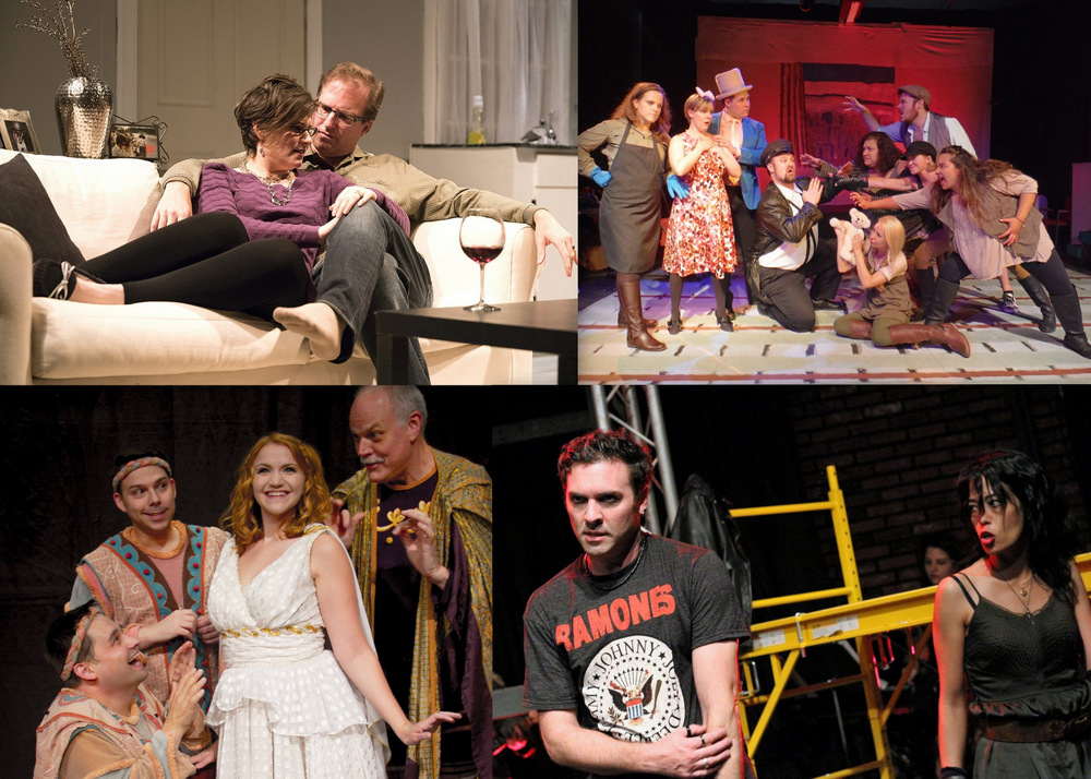 Featured shows this week, clockwise from left: 'Dinner With Friends,' 'Urinetown,' American Idiot' and 'A Funny Thing Happened on the Way to the Forum.'