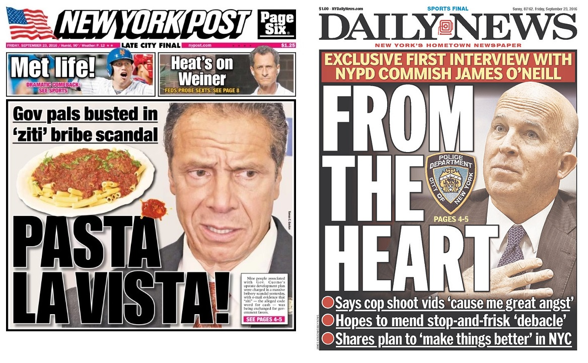 The New York Post splashed the scandal story on its front page, while the New York Daily News didn't mention it on the cover.
