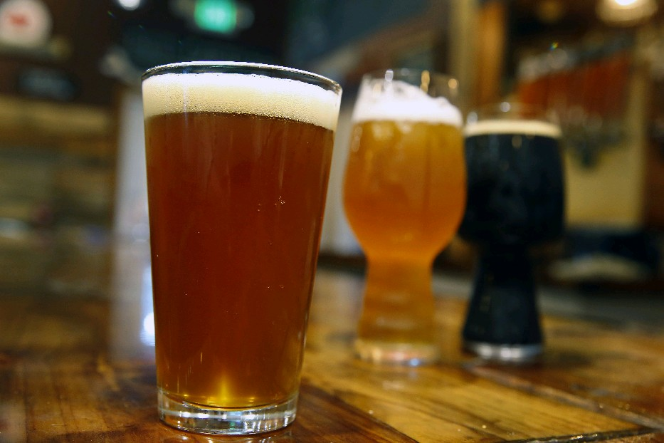 Rusty Nickel Brewing Co. special beers during Buffalo Beer Week, which runs through Oct. 2. You can try a Not Yo' Grandpa's Cream Ale, left, Pre-Season IPA and a Vanilla Chai Tea Milk Stout. (Mark Mulville/Buffalo News)
