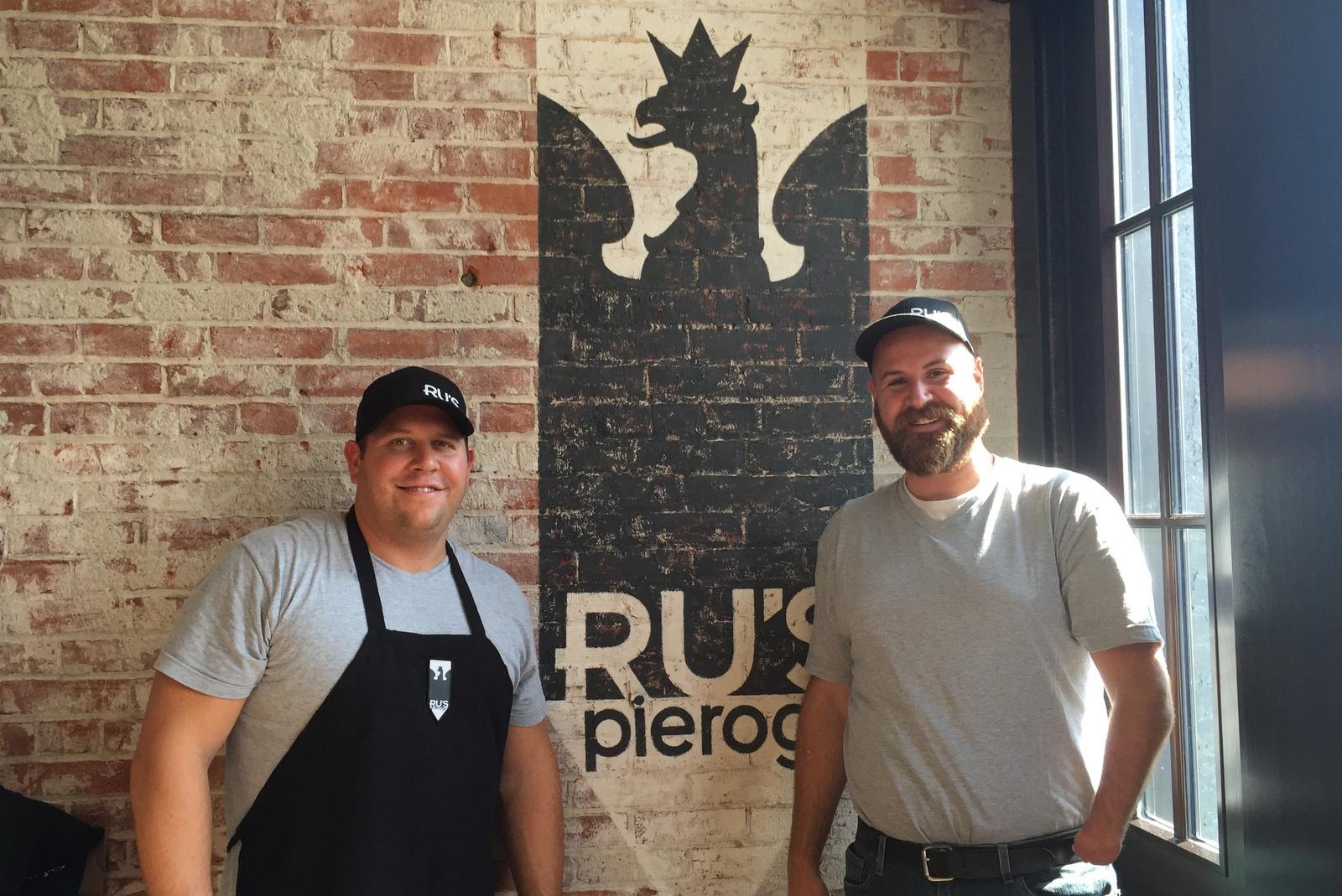 Andy Ruszczyk, left, and Zachary Schneider of Ru's Pierogi. (Andrew Galarneau/Buffalo News)