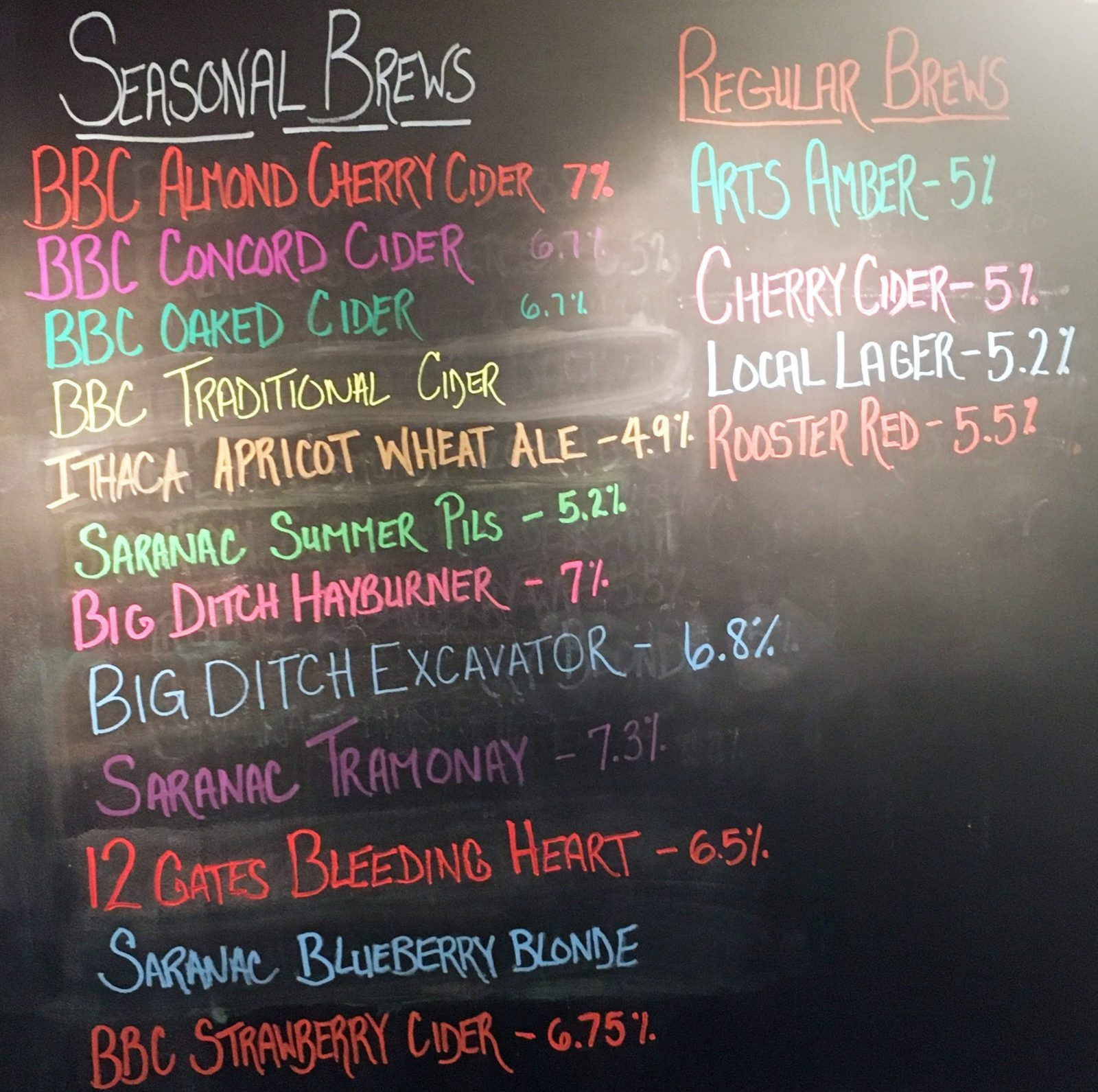 Ciders to choose from at Becker Brewing. (Emeri Krawczyk/Special to The News)