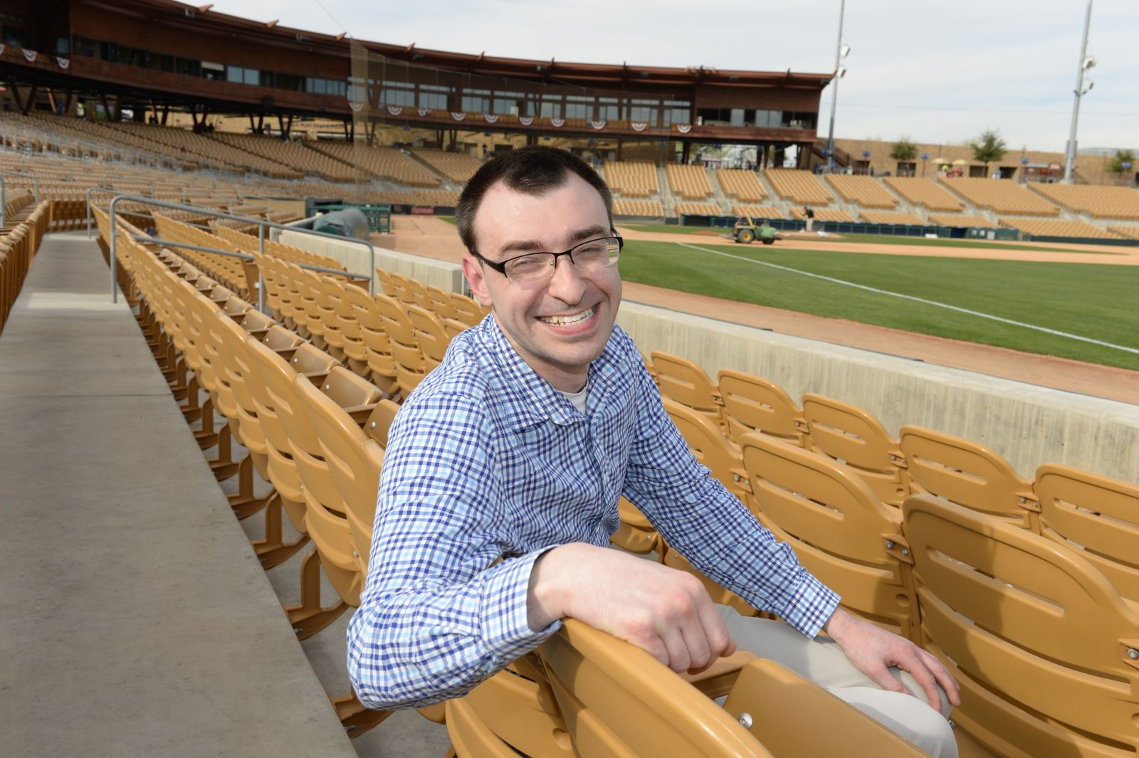 Jason Benetti, just finished with his first season as a Chicago White Sox television announcer, at Comiskey Park. (Photo courtesy Ron Vesely)
