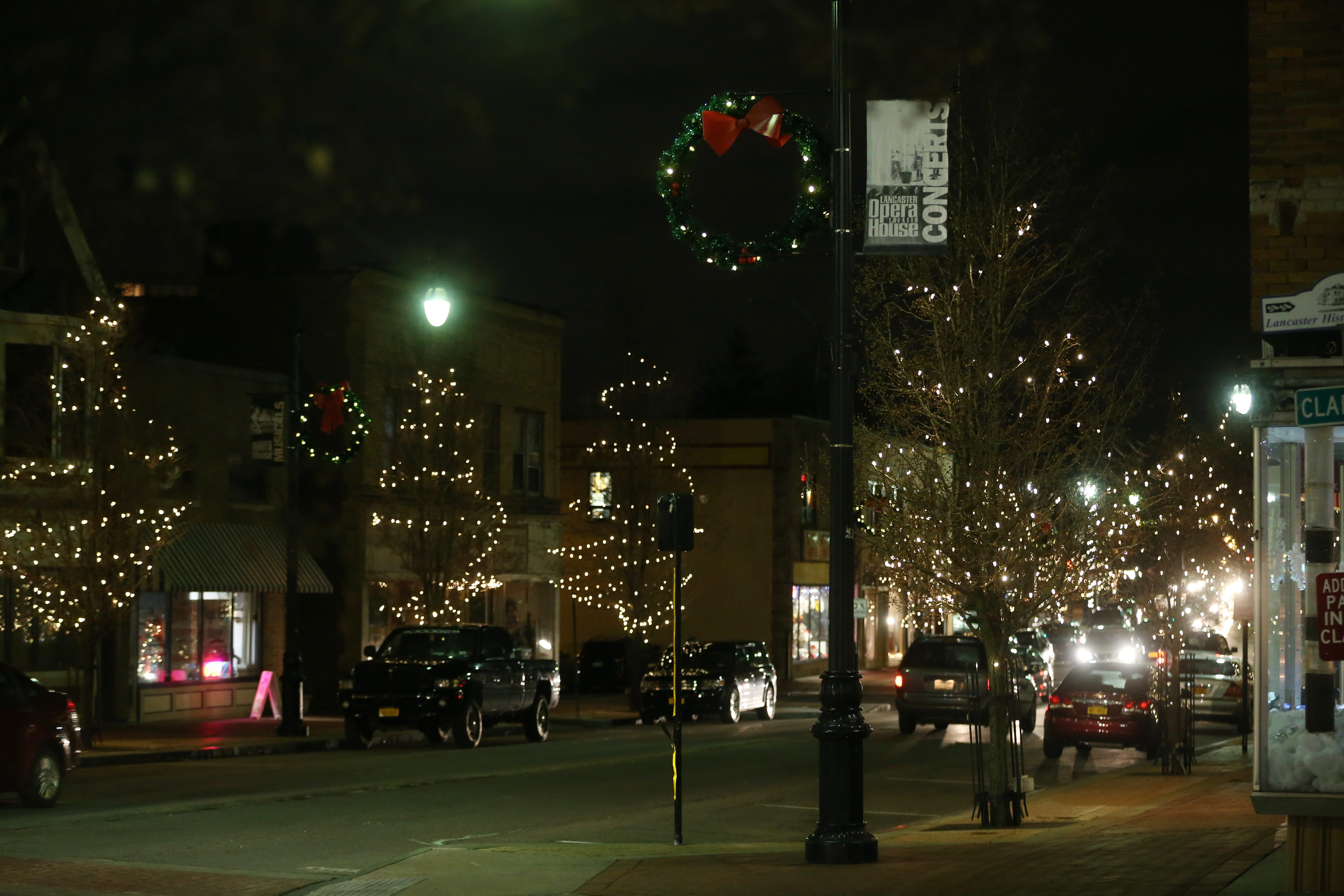 Central Avenue in the Village of Lancaster lit up for Christmas in 2015. (Sharon Cantillon/Buffalo News)