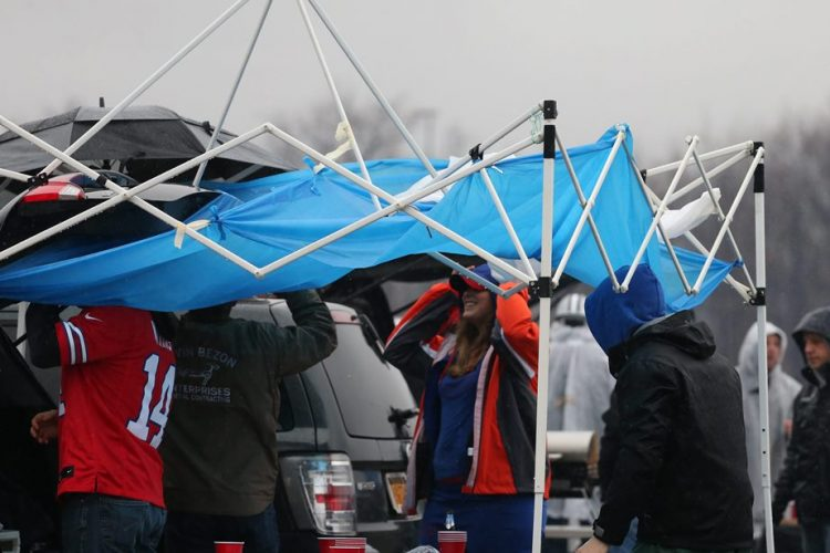 Could raining and pouring keep Tom Brady from scoring?