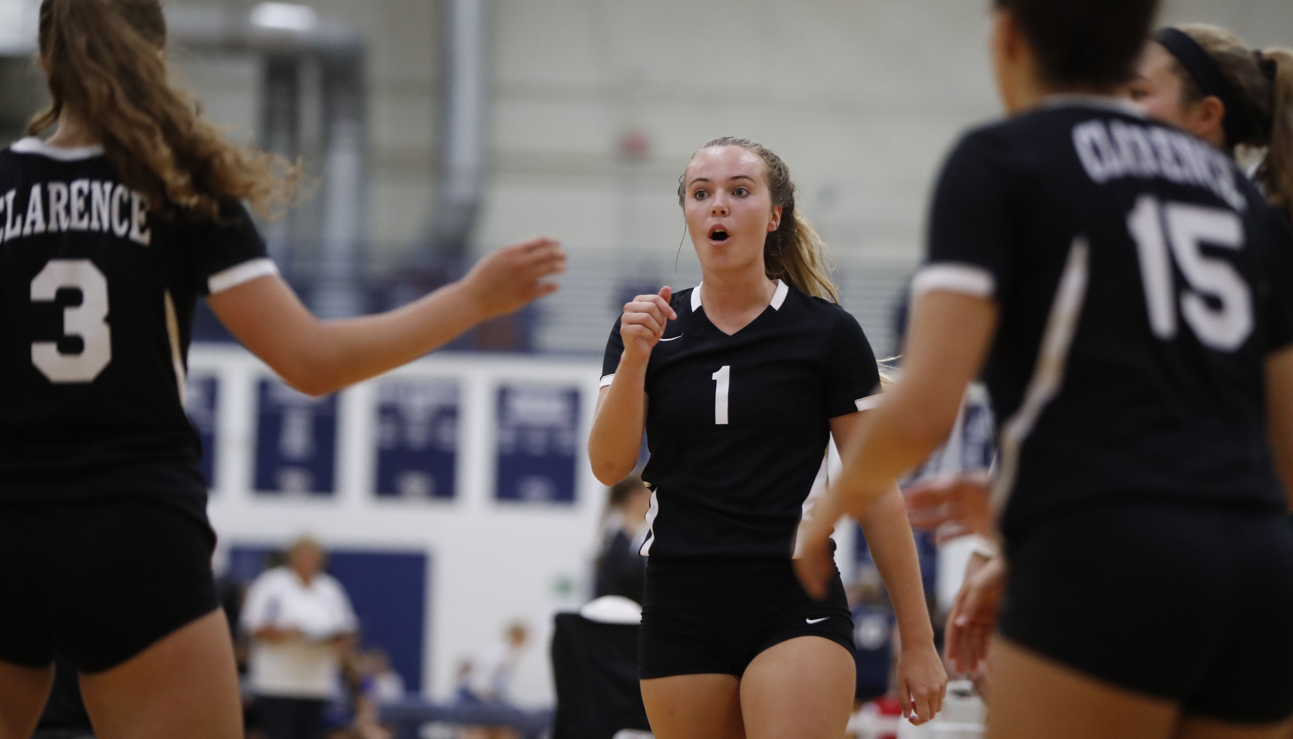 Meghan Neelon (1) and Clarence retain the No. 1 spot in the girls volleyball large schools pool, although the margin is slimming. (Harry Scull Jr./Buffalo News)