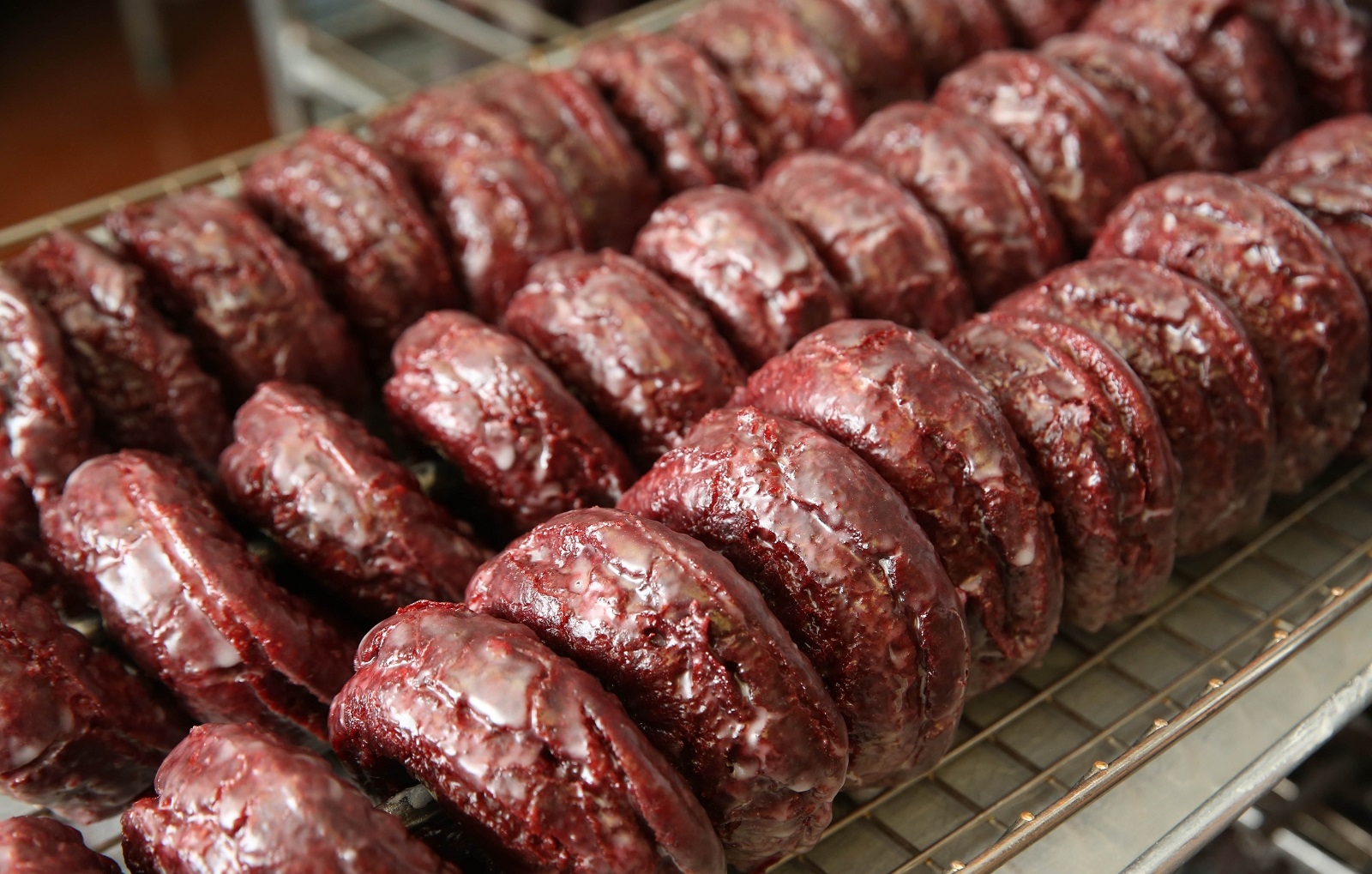 Paula's Donuts' red velvet doughnuts are very popular. (Sharon Cantillon/Buffalo News)