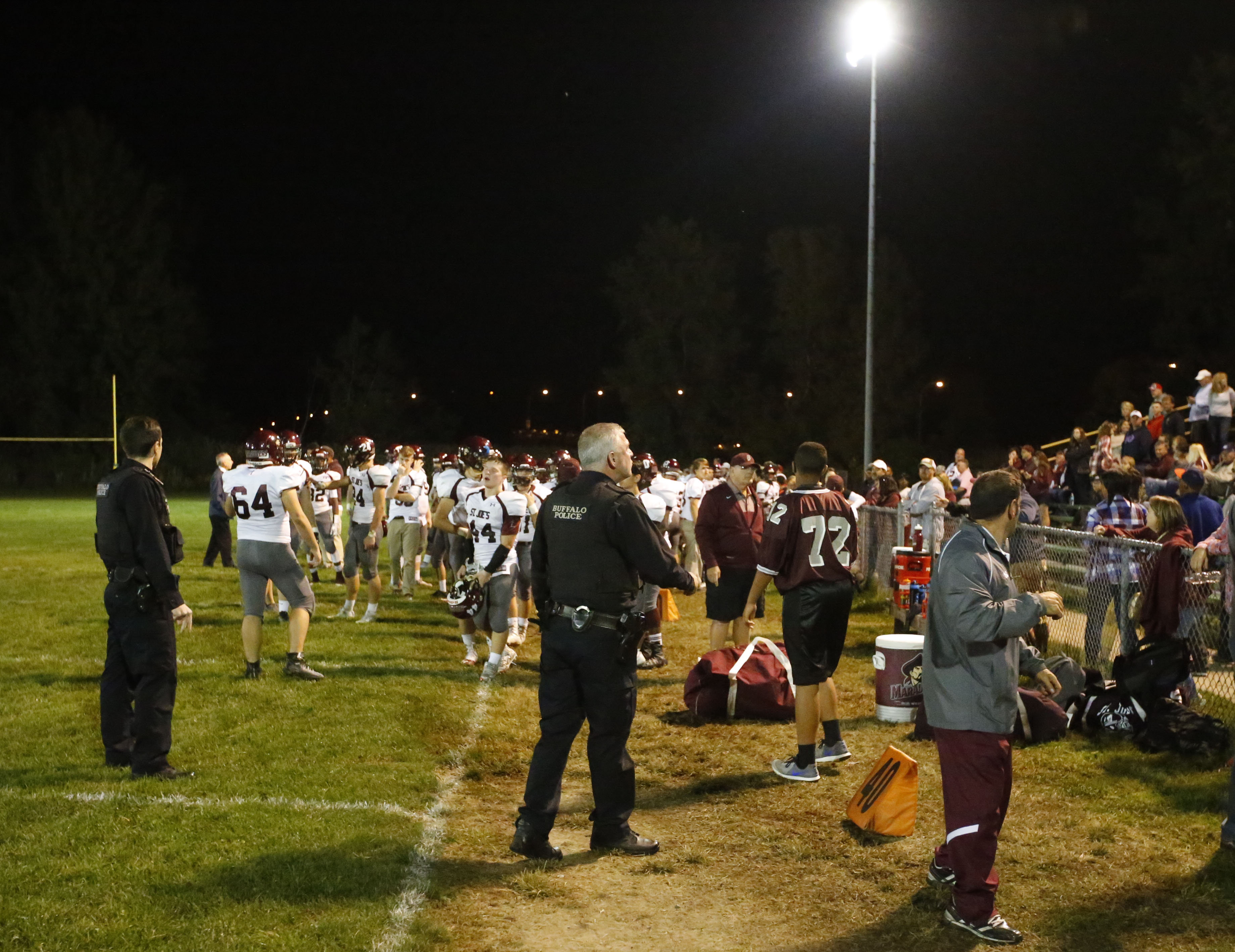 Police clear Fitzpatrick Field after the Oct. 7 brawl between the St. Joe's and Bishop Timon-St. Jude football teams. (Harry Scull Jr./Buffalo News)