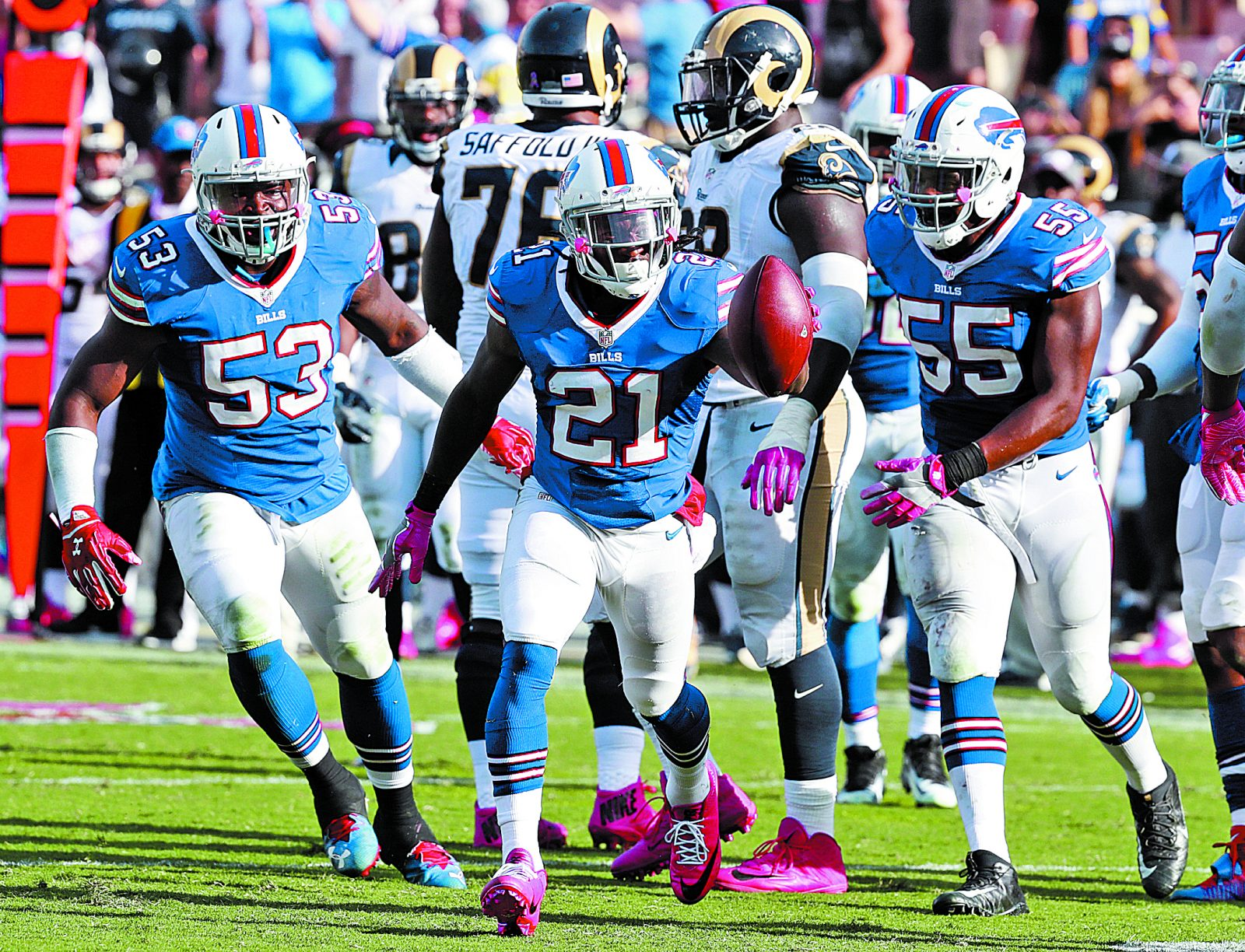 Former Buffalo Bills defensive back Nickell Robey-Coleman (21) celebrates a turnover in the fourth quarter of the Oct. 9 win over the Los Angeles Rams. (James P. McCoy/ Buffalo News)