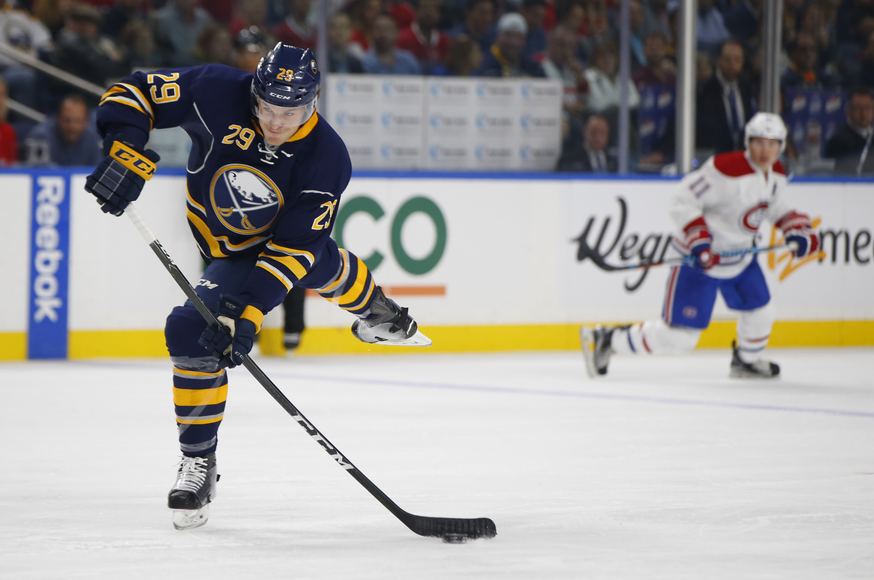 Buffalo Sabres Jake McCabe shoots against the Montreal Canadiens during first period action at the KeyBank Center. (Harry Scull Jr./Buffalo News)