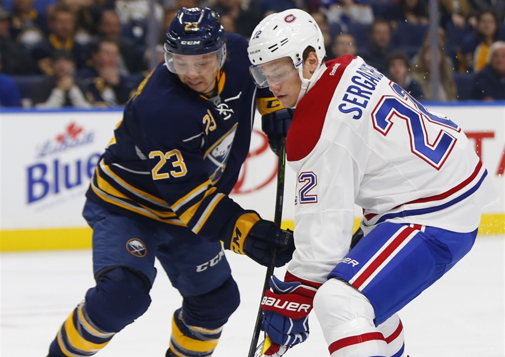 Sam Reinhart and the Sabres will be battling for a winning road trip Thursday in Vancouver (Harry Scull Jr./Buffalo News)