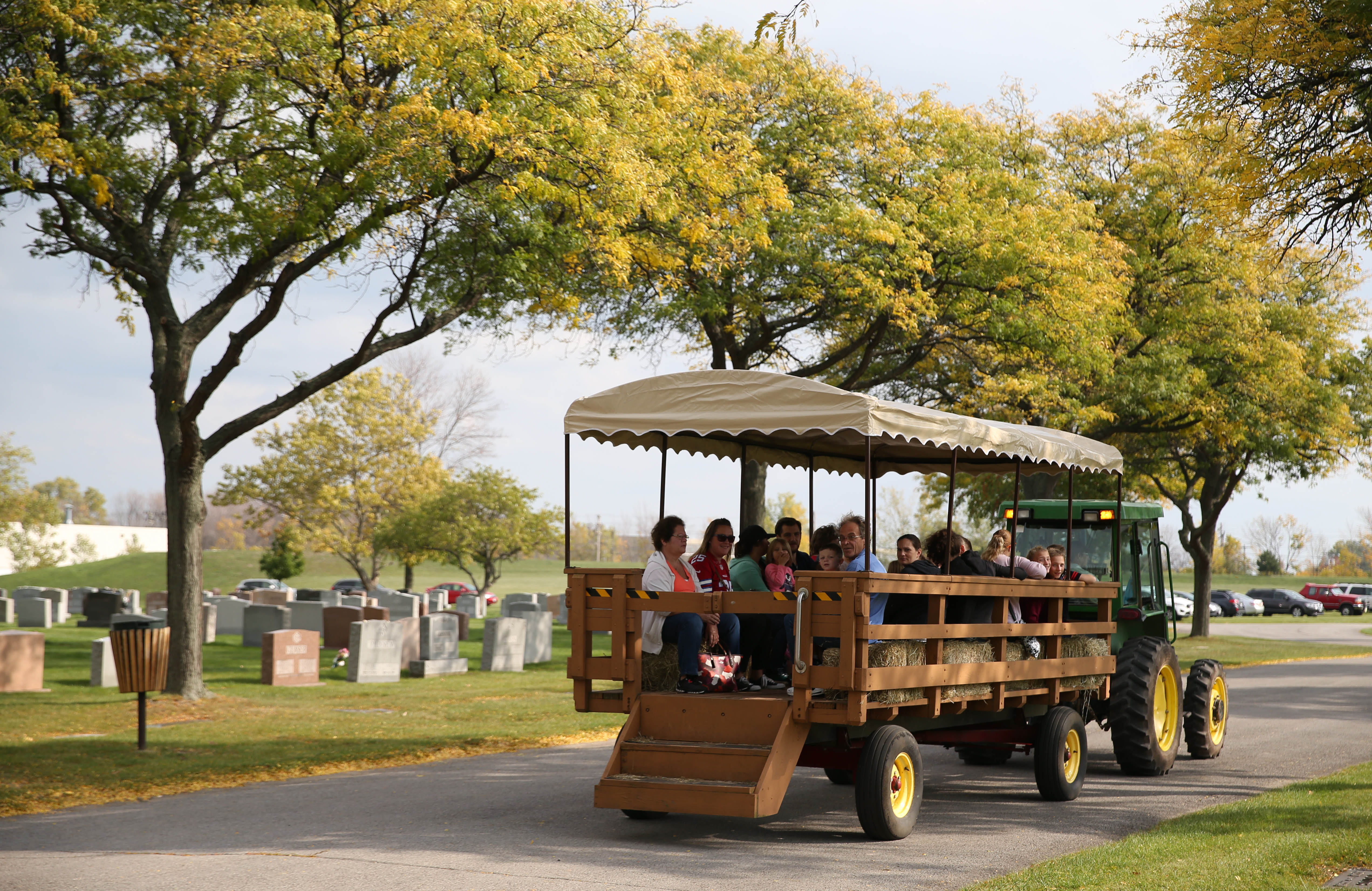 Elmlawn Memorial Park in the Town of Tonawanda, holds its second annual Family Fall Fest, Sunday, Oct. 16, 2016. A hayride through the cemetery was a popular activity. (Sharon Cantillon/Buffalo News)