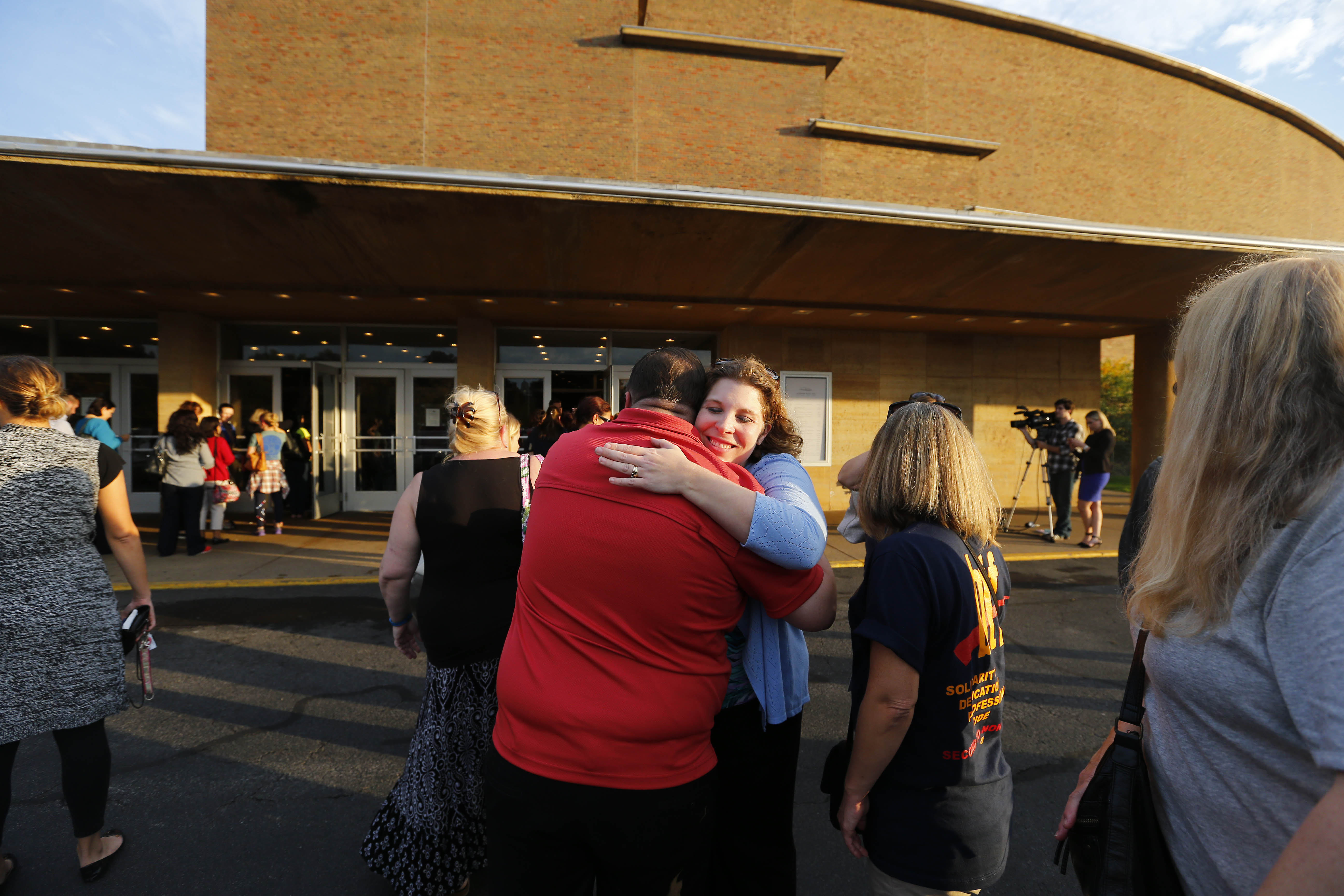 Buffalo teachers wait in line at Kleinhans Music Hall to vote on a proposed contract. (Mark Mulville/The Buffalo News)