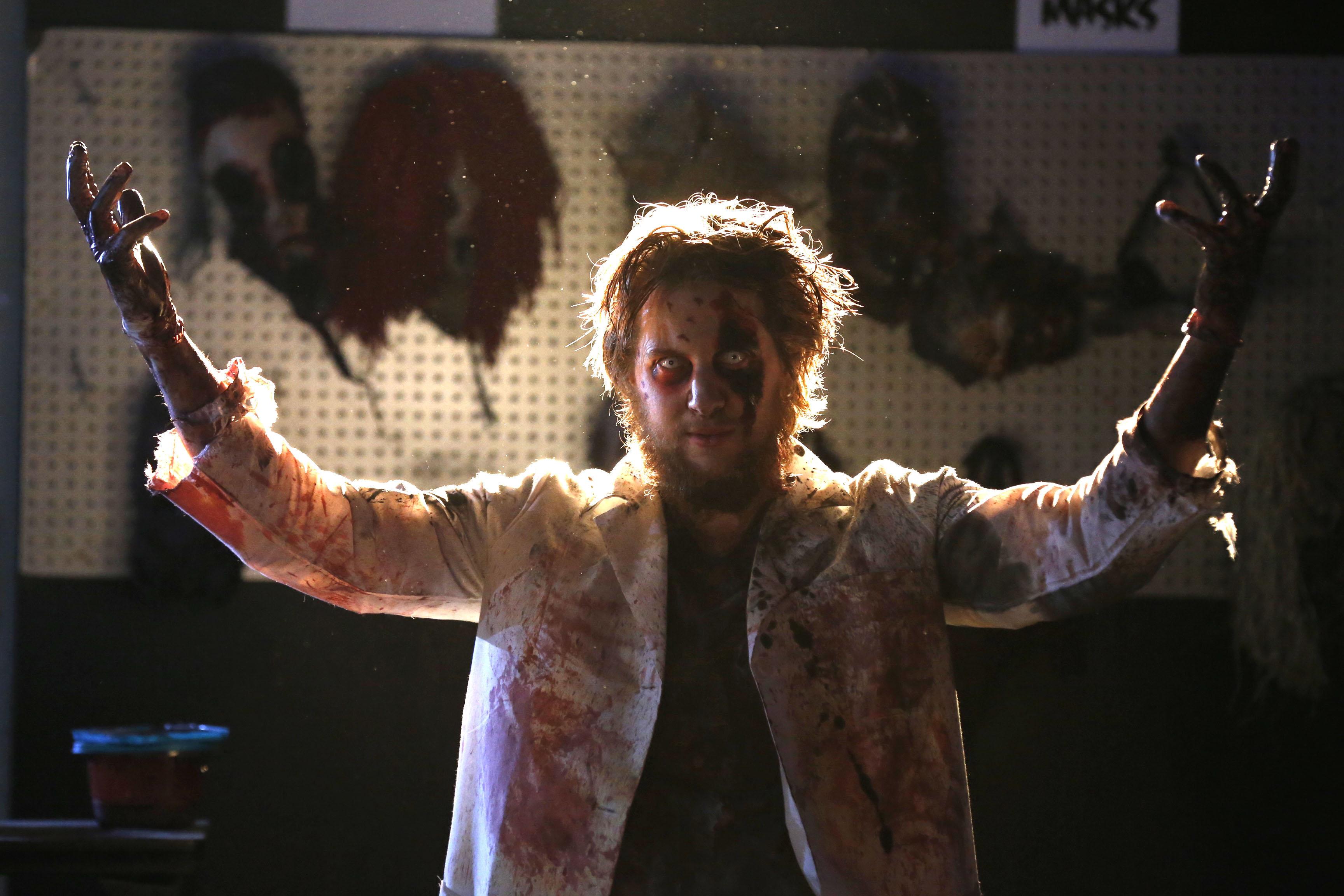 Bobby Weber, of Lockport, one of the scare actors at Frightworld in Tonawanda. (Robert Kirkham/Buffalo News)