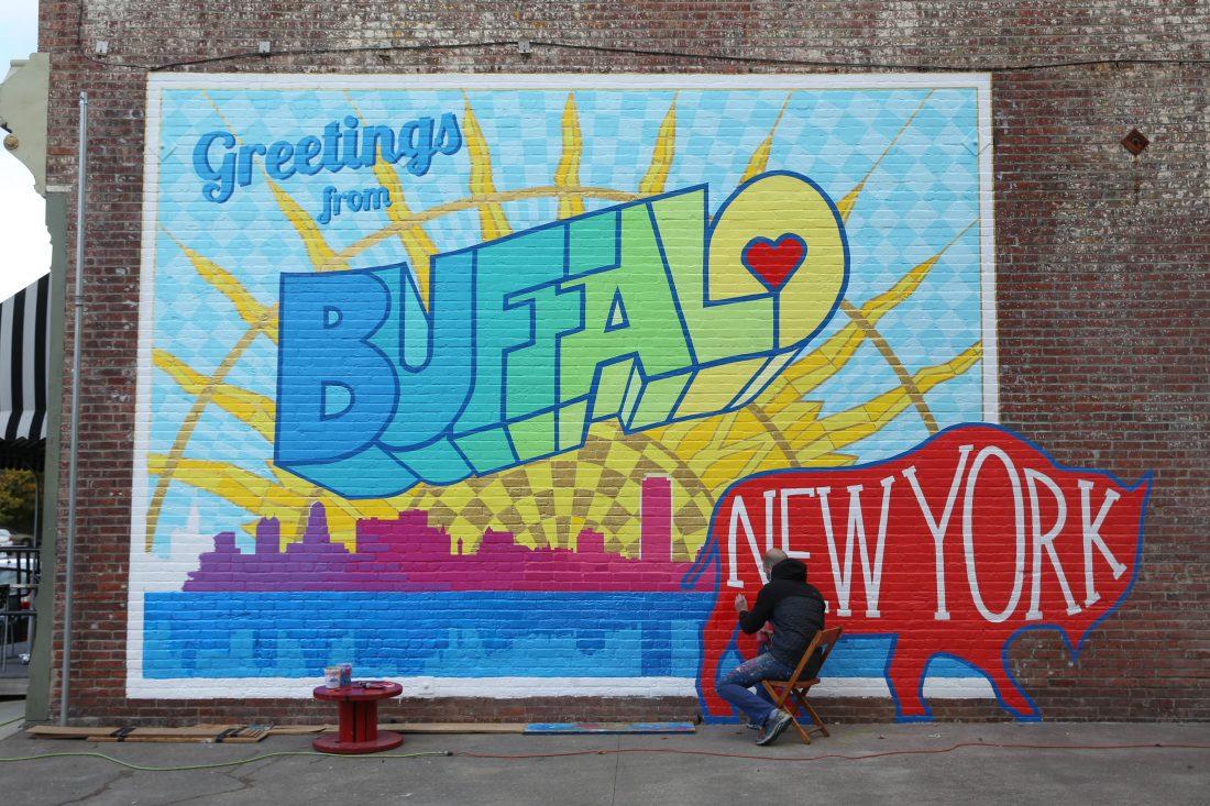 New 39 greetings from buffalo 39 mural appears on ellicott for Bufflon revetement mural