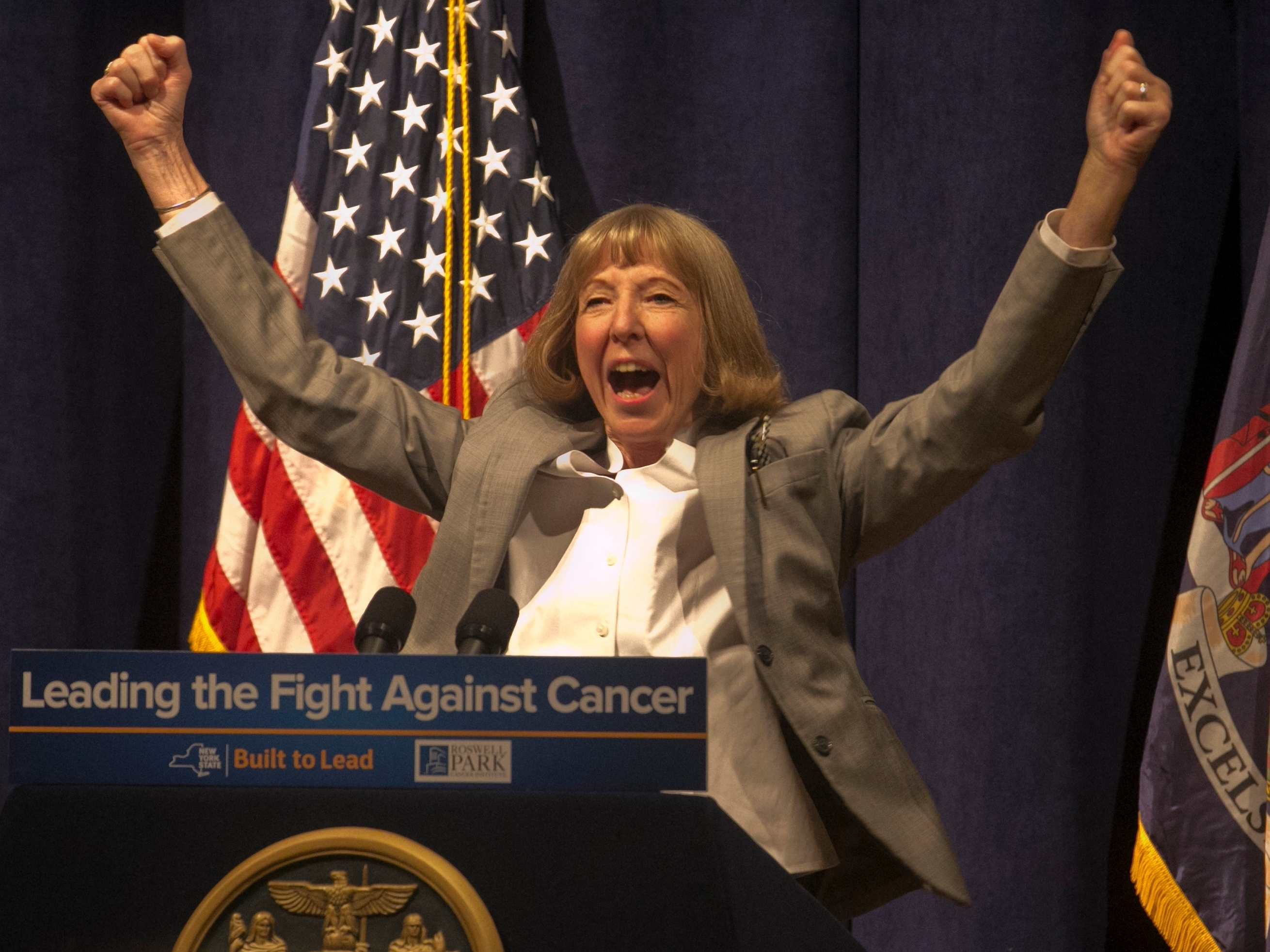 Candace Johnson, president and CEO of Roswell Park Cancer Institute, announced the exciting news that clinical trials of a new cancer vaccine will begin soon. (John Hickey/Buffalo News)