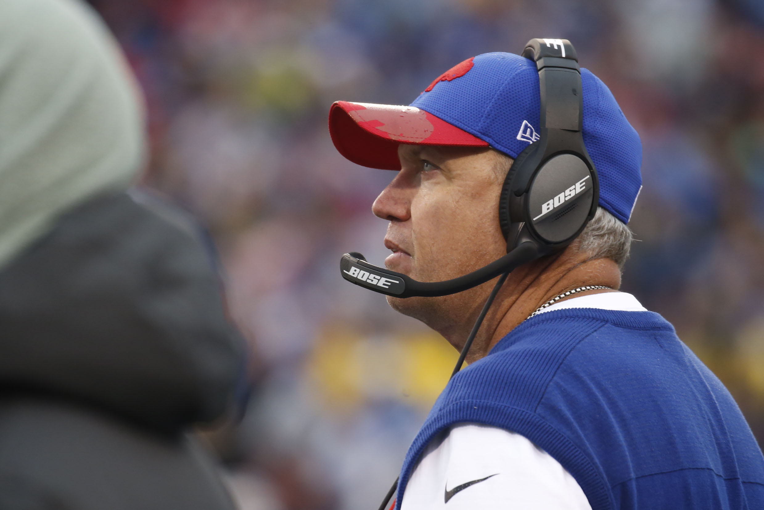 Buffalo Bills head coach Rex Ryan looks up at the scoreboard during the third quarter against the Patriots at New Era Field in Orchard Park, Sunday, Oct. 30, 2016.  (Robert Kirkham/Buffalo News)