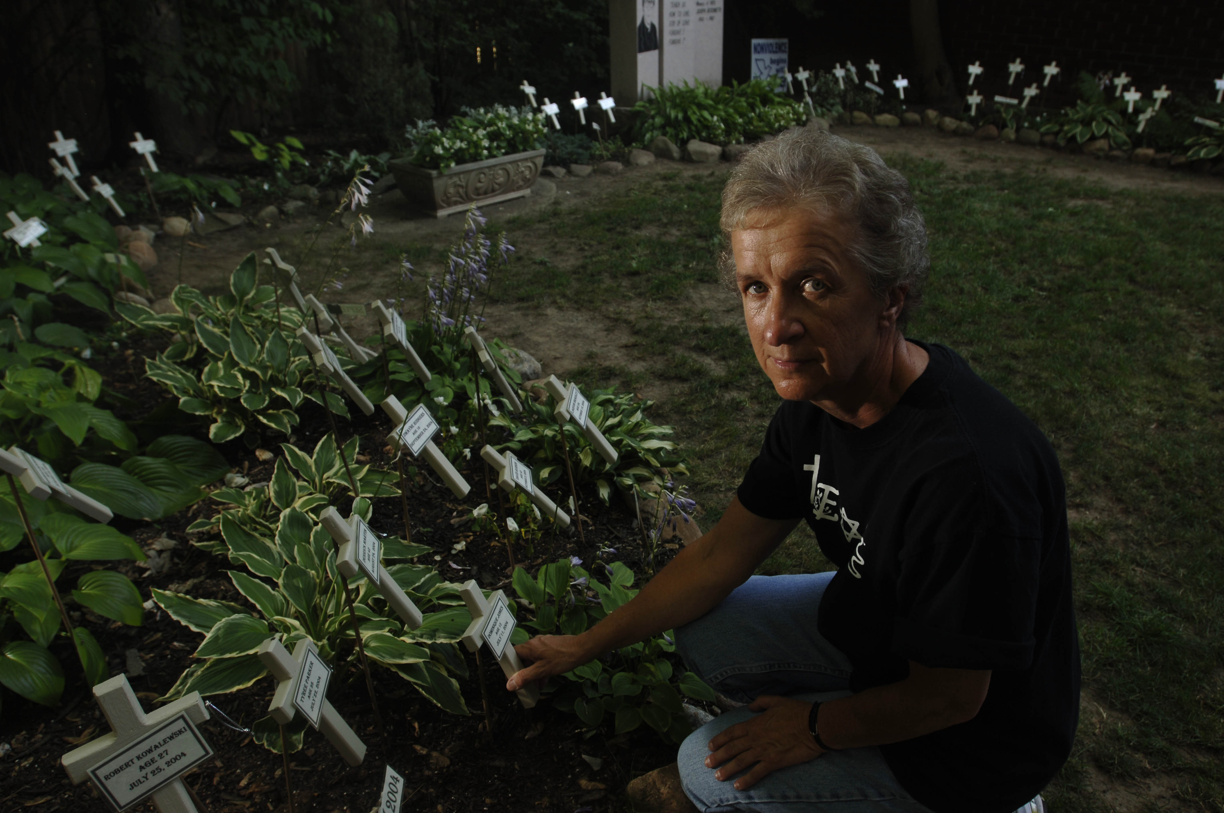 In 2005, Sister Karen Klimczak arranged a memorial featuring a cross for each of the more than 50 murder victims in the City of Buffalo since June of 2004 in the garden at the Bissonette House on Grider Avenue. (Derek Gee/Buffalo News)