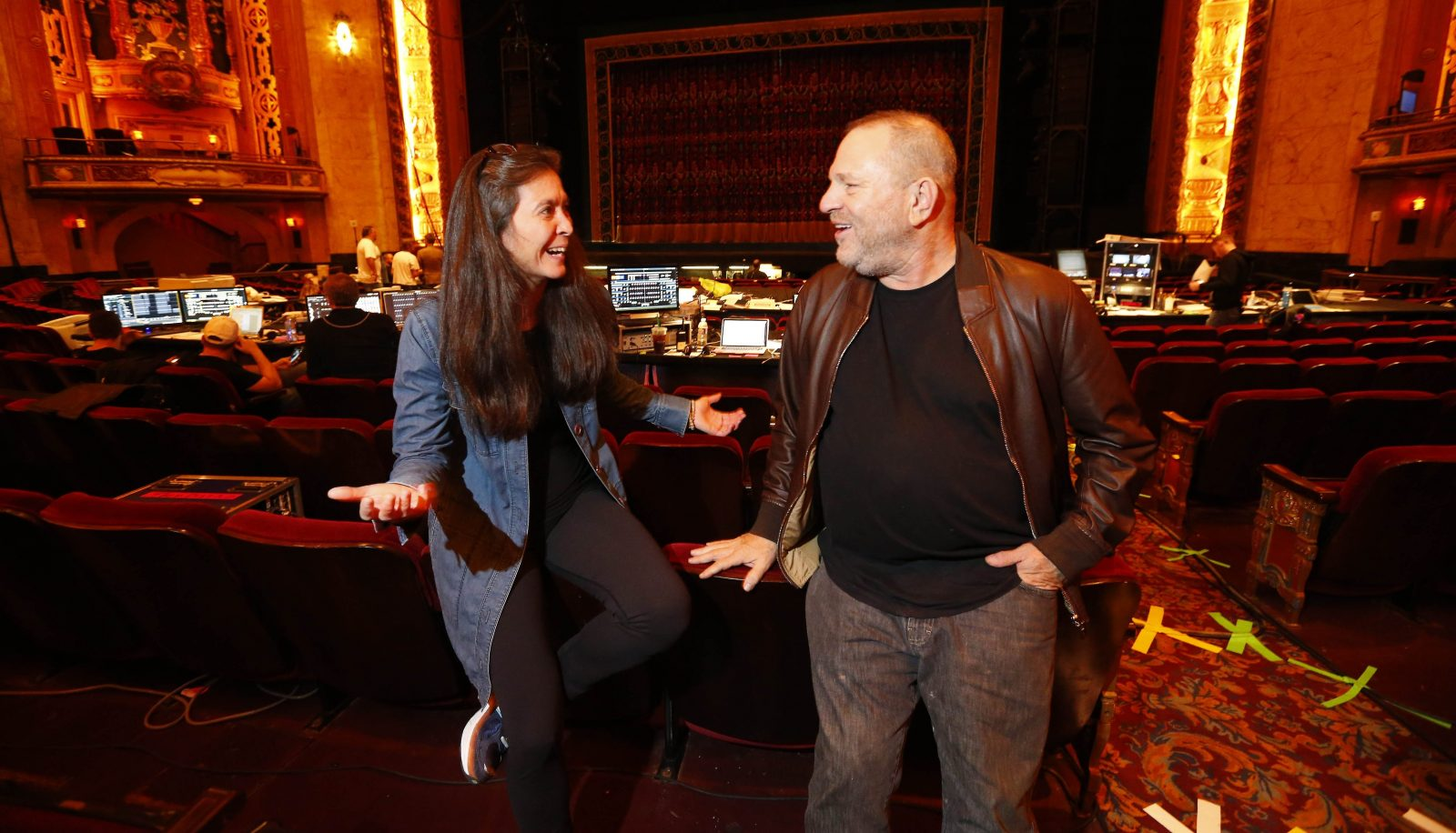 "Director Diane Paulus and Producer Harvey Weinstein talk before the start of the rehearsal Thursday, Oct. 6, 2016, of ""Finding Neverland,"" a musical he produced and which is launching its national tour at Shea's Buffalo. (Mark Mulville/The Buffalo News)"